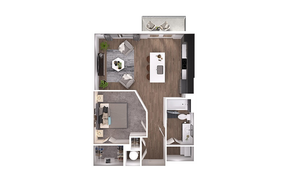 A1p - 1 bedroom floorplan layout with 1 bath and 632 square feet. (3D)