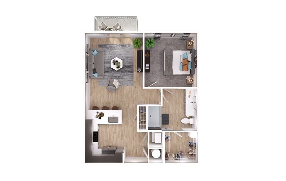 A2p - 1 bedroom floorplan layout with 1 bath and 725 square feet. (3D)