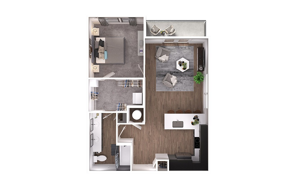 A3p - 1 bedroom floorplan layout with 1 bath and 743 square feet. (3D)