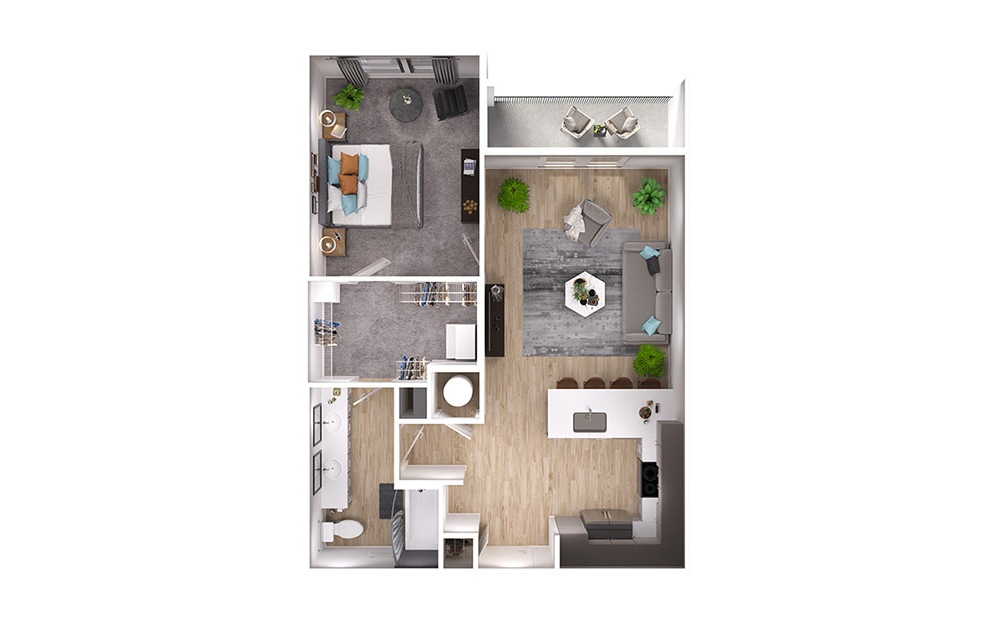 A4p - 1 bedroom floorplan layout with 1 bath and 767 square feet. (3D)