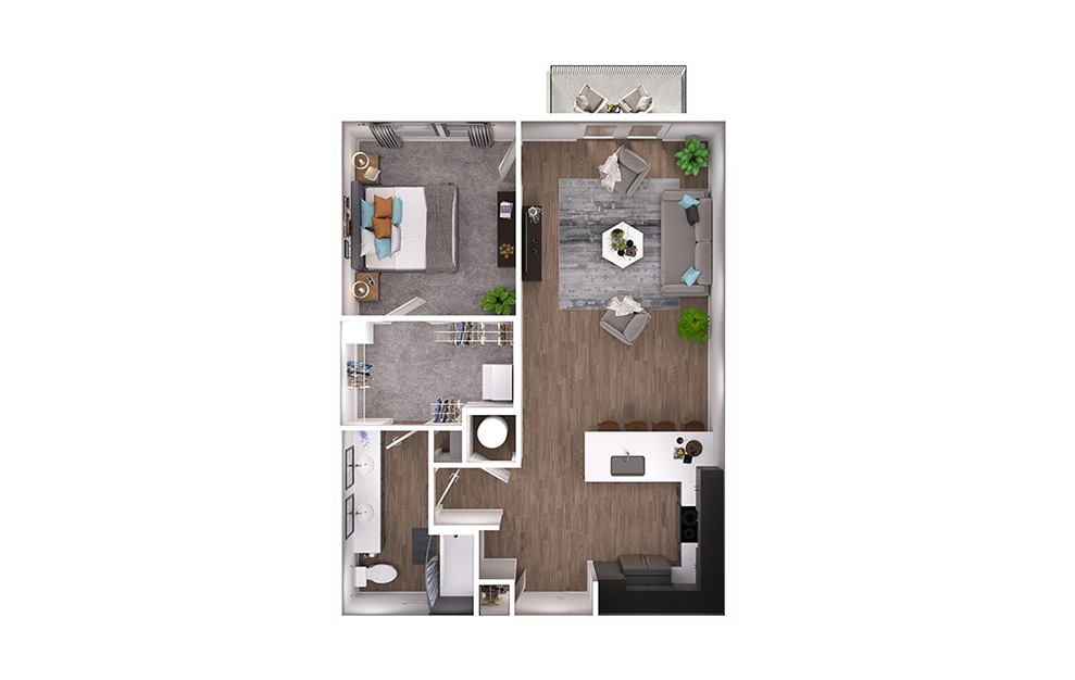 A5p - 1 bedroom floorplan layout with 1 bath and 800 square feet. (3D)