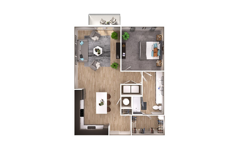 A6 - 1 bedroom floorplan layout with 1 bath and 905 square feet. (3D)