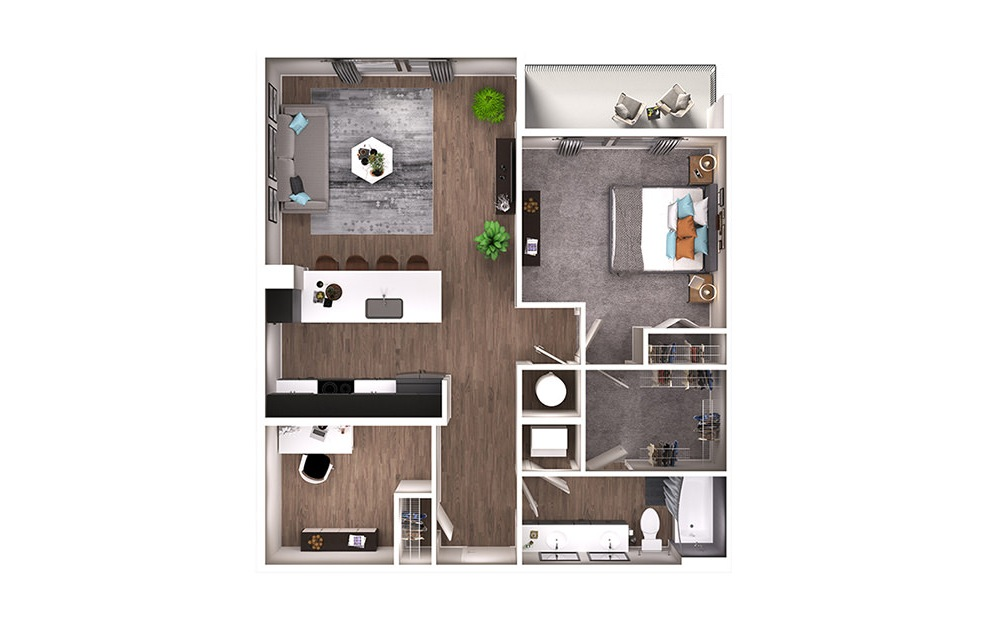 A7D - 1 bedroom floorplan layout with 1 bath and 925 square feet. (3D)
