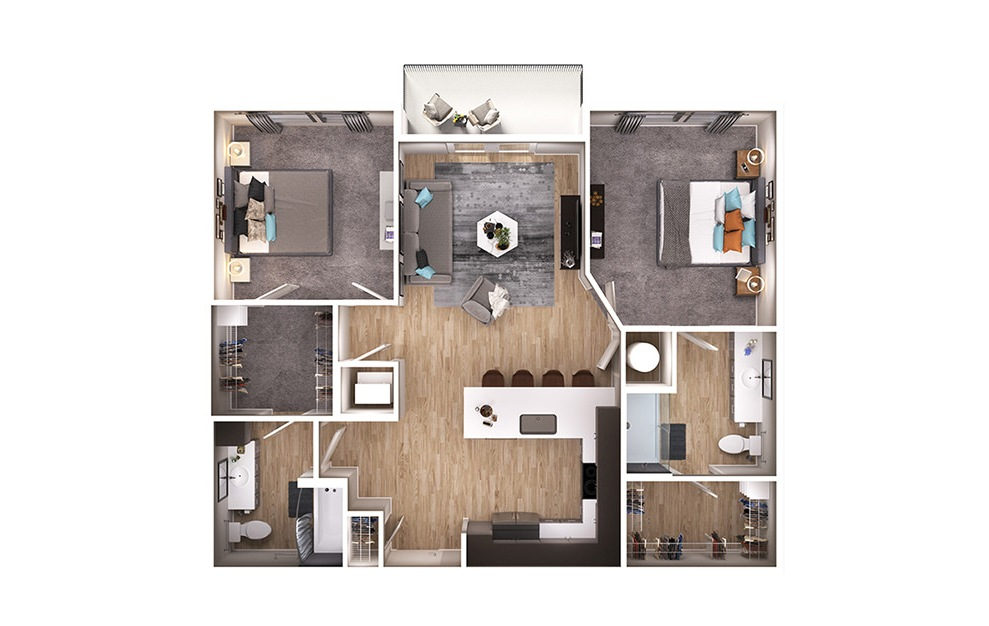 B1 - 2 bedroom floorplan layout with 2 baths and 1093 square feet. (3D)