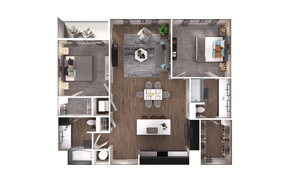 B2 - 2 bedroom floorplan layout with 2 baths and 1166 square feet. (3D)