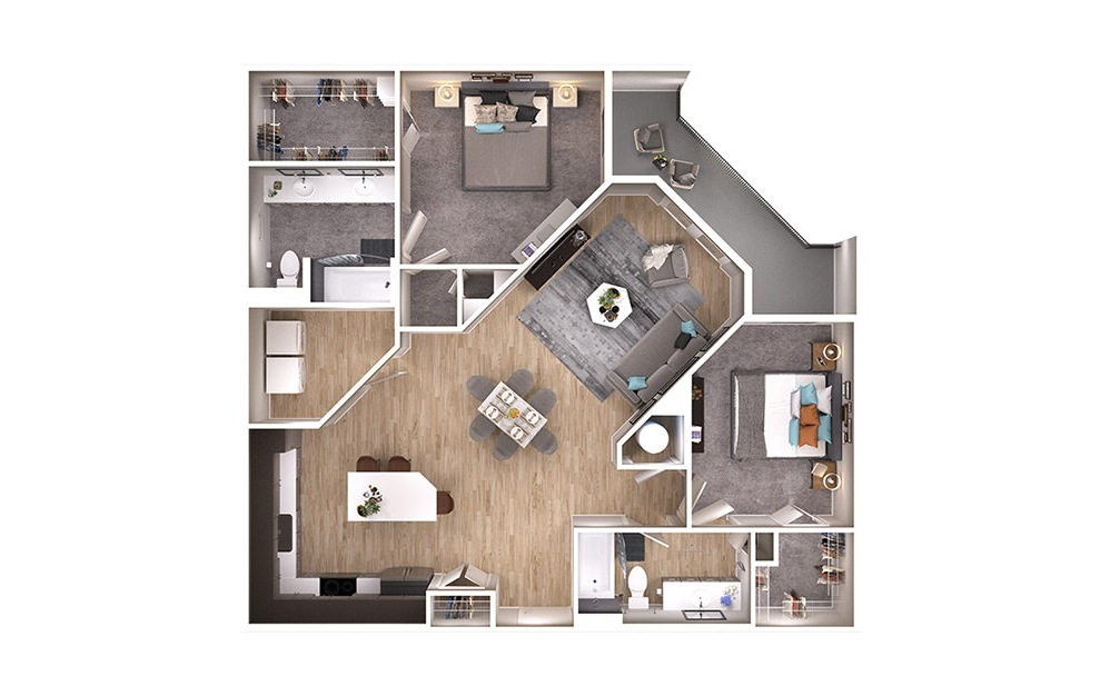 B3 - 2 bedroom floorplan layout with 2 baths and 1231 square feet. (3D)