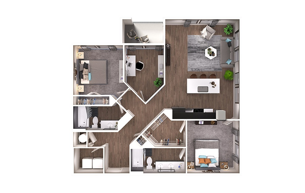 B4D - 2 bedroom floorplan layout with 2 baths and 1273 square feet. (3D)