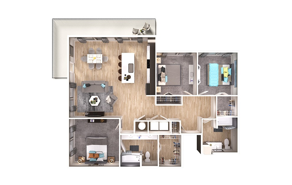 C1 - 3 bedroom floorplan layout with 2 baths and 1367 square feet. (3D)