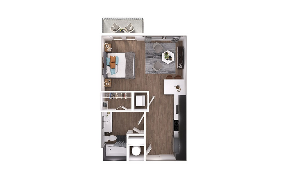 S1p - Studio floorplan layout with 1 bath and 539 square feet. (3D)