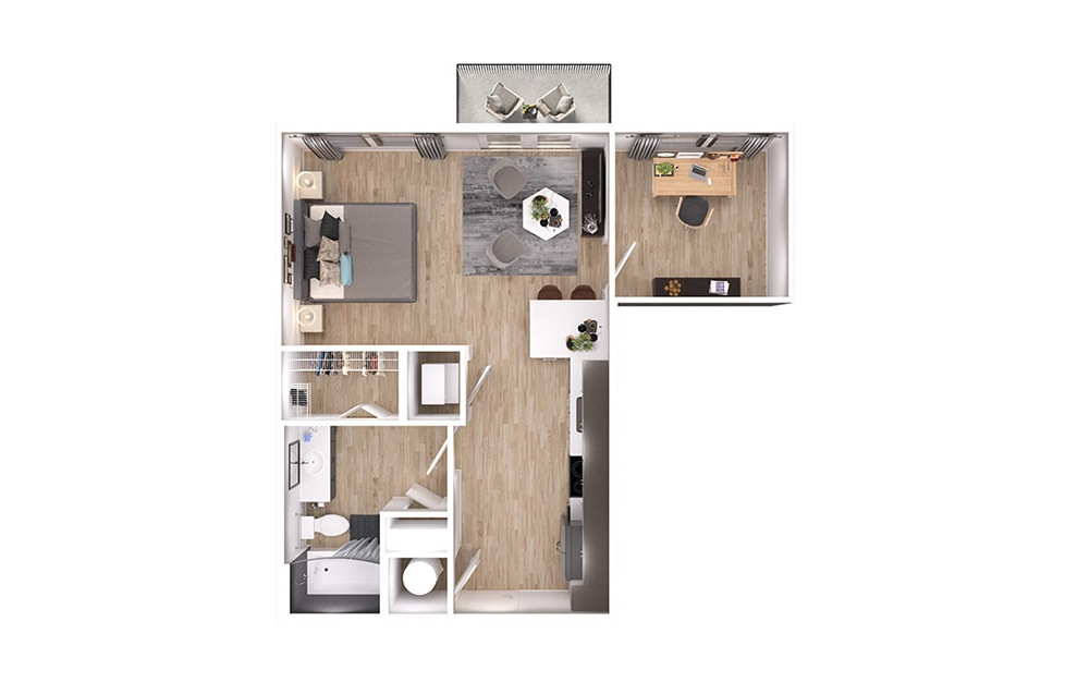 S2Dp - Studio floorplan layout with 1 bath and 639 square feet. (3D)